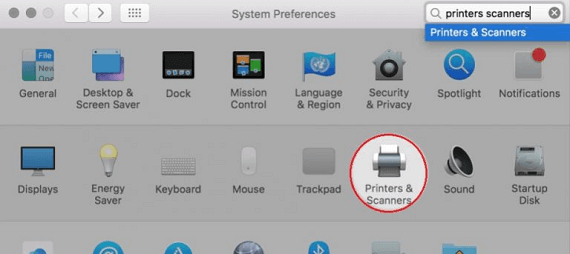 Printers and Scanners option
